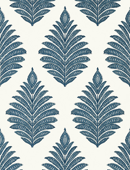 Palampore Leaf Blue and White
